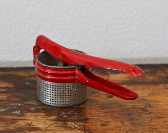 Red Vintage Potato Ricer Kitchen Utensil  1950's