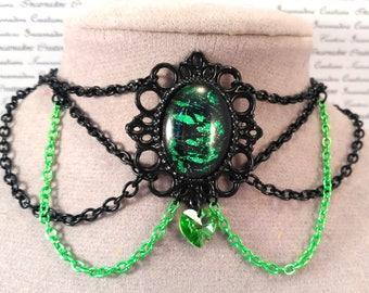 Handpainted green and black stone and black and green chain choker necklace gothic victorian