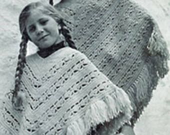 Adult and Child Poncho Set, Crochet Poncho Pattern, Vintage Pattern