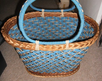 vintage french wicker plastic coated basket