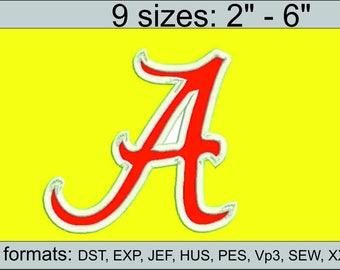 Alabama applique Alabama A  applique embroidery design logo / embroidery designs / INSTANT download machine embroidery pattern
