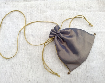 Silk coin purse, medieval reenactment, money bag, hand sewn