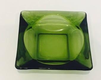 Fabulous Green Glass Retro Ashtray