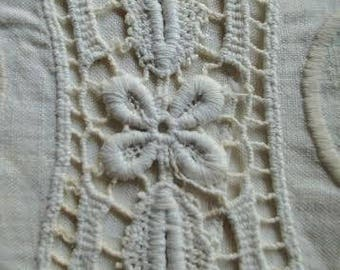 lot - eight charming vintage linens. For mending or cutting