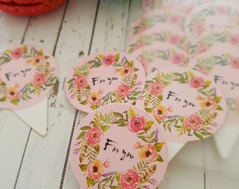 Cupcake Toppers - For You.  Perfect for that special gift for any reason.  Paper cupcake toppers in set of 12.