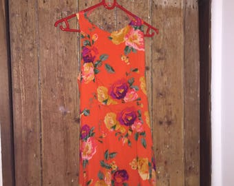 90s style Floral Mini / Sundress dress - ORANGE XS, would fit S