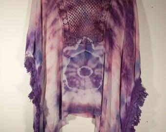 Tie Dye Frilled Womans Poncho