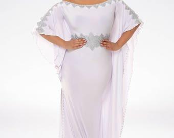 simone white kaftan moroccan dress flowy dress high slit dress gold