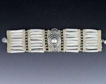 The Mummy's Bundle Dentalium and Button Bracelet