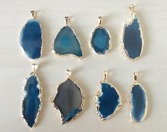 Electroplated deep blue agate slice pendant - Agate slice - Gemstone slice pendant - Blue gemstone slice