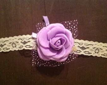 Ready to Ship Purple Foam Flower wrist corsage on Beige Lace