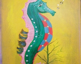 Whimsical Seahorse original painting