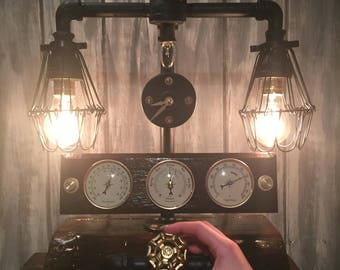 steampunk/industrial style table/desk lamp and weather station with clock