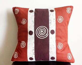 African Pillow, Boho Pillow, Tribal Pillow, Decorative Pillow, Sadza Batik, Zimbabwe Batik