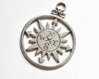Antiqued Silver Compass Charms 36 x 27mm