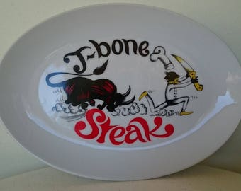 Westminster Australia - Fine China 1960's T-Bone steak oval plate