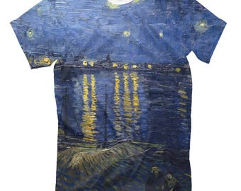 Vincent van Gogh Starry Night Over The Rhone Men's Women's T-Shirt Tank Top Sleeveless