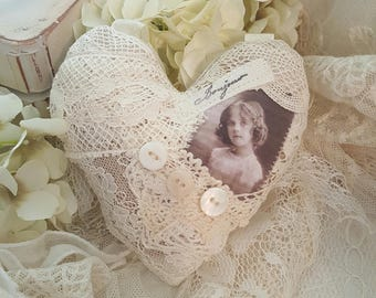 Vintage Lace Heart Collage Sachet Antique Heart Vintage Lace and Buttons Christmas Ornament - Emma