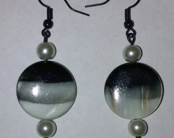 Black, Gray, and White Glass Disc Earrings with Black or White Accent Bead