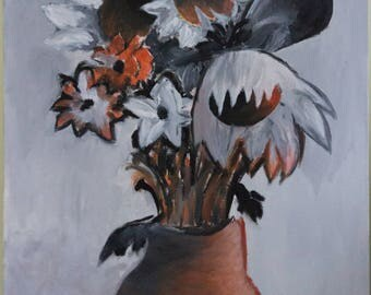 Black & White Flowers with Orange Hues Painting
