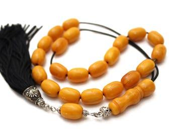 Worry Beads, Greek Komboloi, Kahraman Amber color, Barrel shape beads, Handmade Black Tassel, Tesbih, Relaxation, Meditation, Stress Relief