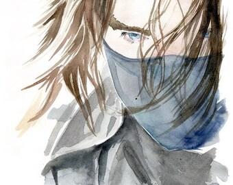 Winter Soldier Bucky Barnes Aquarell
