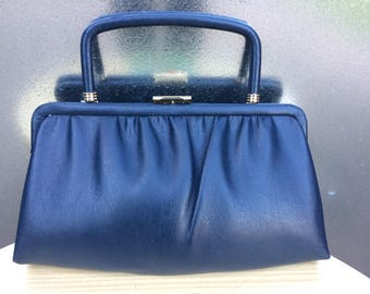 Vintage 1960s Navy Blue Vinyl Clutch with Concealable Handle