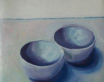 still life, oil, 2 bowls, oilpaint