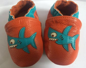 Silly Shark Whitwoobaby Beautifully Soft, Real Leather Moccasin Shoes for Babies and Toddlers