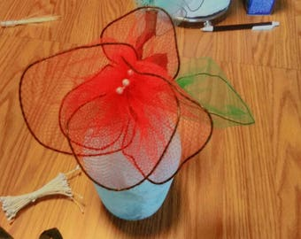 Handmade Single Red Nylon Flower