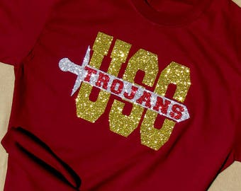 University of Southern California Trojans Glitzy Cardinal Red T-Shirt with Brilliant High Sparkle Glitter on Cardinal Shirt USC