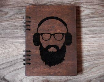 Hipster notebook Wooden notebook Wood journal Travel journal Engraved notebook Custom journal Sketchbook Laser engraved journal