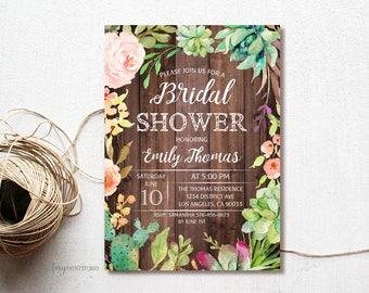 Succulent Bridal Shower Invitation, Floral Succulent Bridal Shower Invite, Wood Bridal Shower Invite, PERSONALIZED, Digital file, #D06