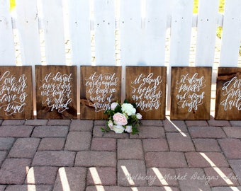 Set of 6 1 Corinthians 13 rustic wedding signs for the isle- Wedding decor- Wedding signs for down the isle- Love is Patient- Wooden signs