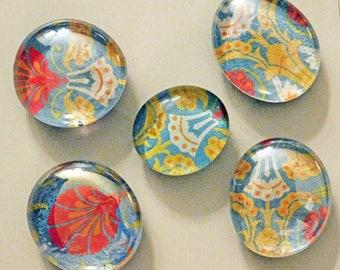 5 Handmade Magnets, Refrigerator Magnets, Fridge Magnets, Decorative Magnets, Glass magnets, Unique Gift, Colorful Magnet,Packaged Set