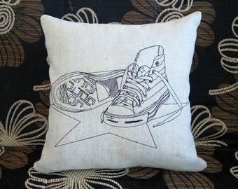 Decorative pillow, Decorated pillow embroidery, 100% Flax Linen pillow embroidery sneakers