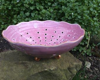 Ceramic pink colander bowl