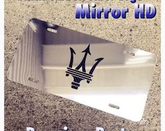 Maserati License Plate Custom Mirror Chrome Black Carbon Fiber Logo New Aluminum
