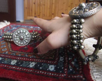Pair of Yemeni upper arm bracelets for tribal belly dance