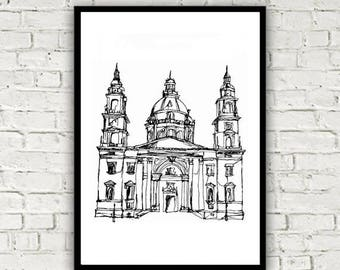 St Stephen's Basilica (Szent Istvan Bazilika) Budapest One Line Drawing Print