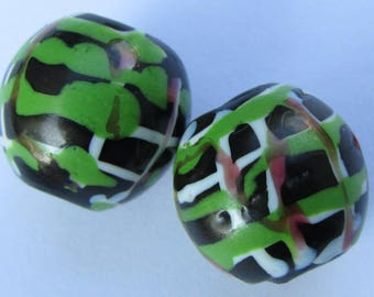 A Pair of Venetian African Glass Trade Beads with Lampwork Decoration