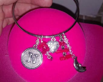 bracelet with moon and initial dangle