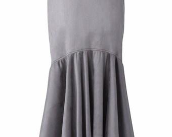Basic Grey Suede High-Low Cascade Look Long Skirt