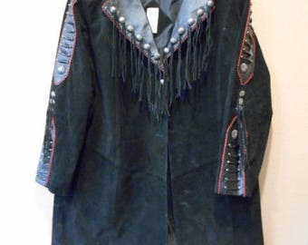 Roaman's 20W Small Western Style Suede Leather Jacket