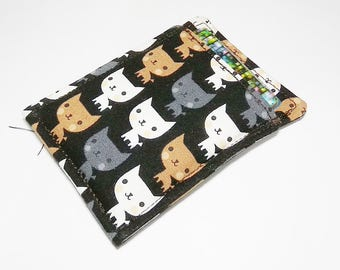 cat, kawaii cute fabric slim card wallet, business,  loyalty, credit card holder, id1360262 portefeuille, minimalist, front pocket wallet