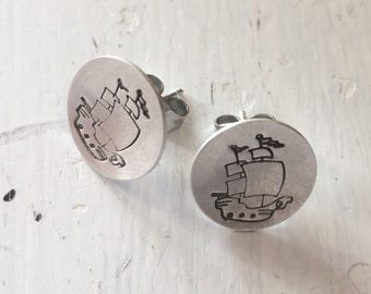 Sterling Stamped Pirate Ship Stud Earrings
