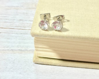 Rhinestone Stud Earrings, Small Clear Rhinestone Studs, April Birthstone Studs, Clear Glass Stud Earrings, Surgical Steel Studs (HJ4)