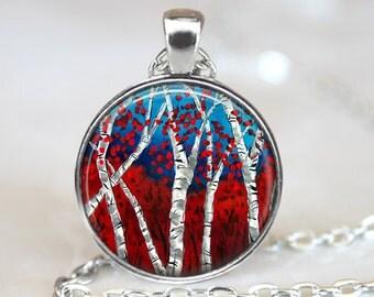 Birch Pendant, Birch Forest Pendant, Birch Forest Necklace, Birch Art Pendant, Birch Jewelry, Bronze, Silver, Birch Tree Glass Pendant, 1071