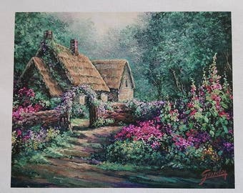 Cottage Garden, Fine Art Giclee, FINE ART PRINT,  print with artist brushwork in oils