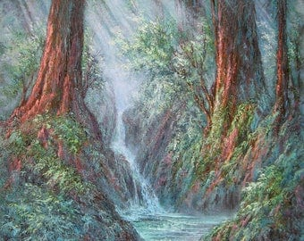 Redwood Gulch , Original Fine Art, Oil Painting by Griselda Tello, California Costal Redwoods, Forest Landscape, Redwood art